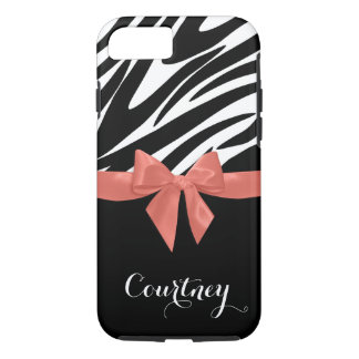 Zebra Stripes Coral Bow with Name iPhone 7 Case