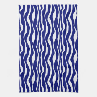 Zebra stripes - Dark Cobalt Blue and White Kitchen Towel