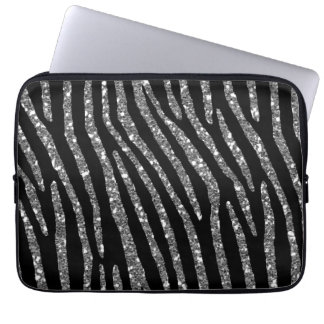 Zebra Stripes Elegance on Black Decor Laptop Sleeve