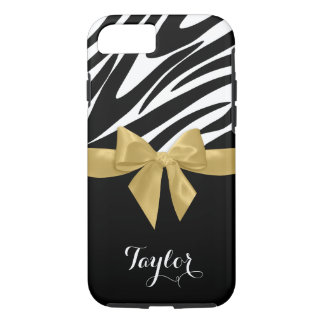 Zebra Stripes Gold Bow with Name iPhone 7 Case