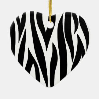 Zebra stripes - Heart Ornamnet Ceramic Ornament