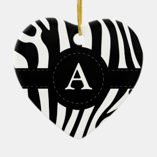 Zebra stripes monogram initial A custom Ceramic Ornament