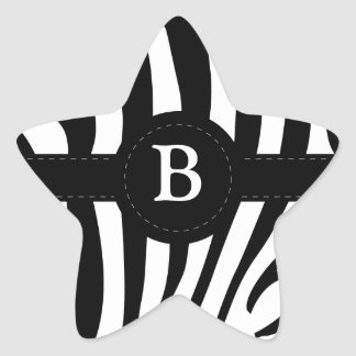 Zebra stripes monogram initial B custom Star Sticker