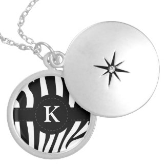 Zebra stripes monogram initial K custom Round Locket Necklace