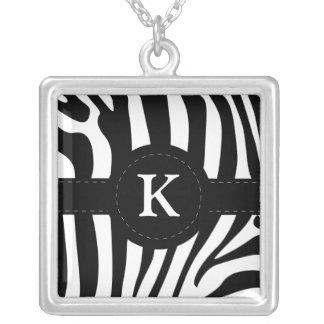 Zebra stripes monogram initial K custom Square Pendant Necklace