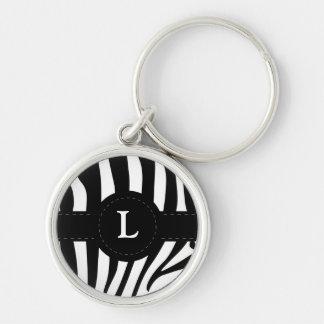 Zebra stripes monogram initial L custom Silver-Colored Round Keychain