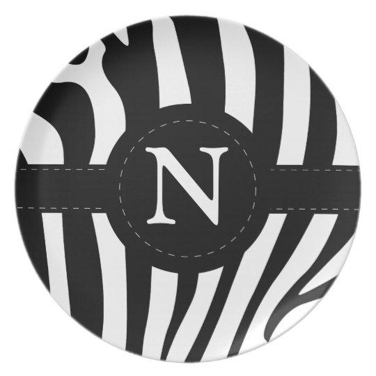 Zebra stripes monogram initial N custom, gift Plate