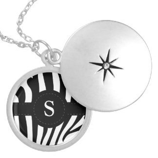 Zebra stripes monogram initial S custom Round Locket Necklace