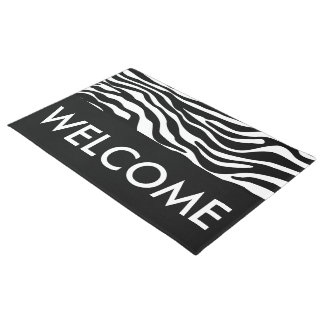 Zebra stripes pattern black & white + your ideas doormat