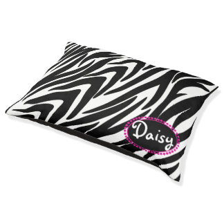 Zebra Stripes Pet Bed with Name