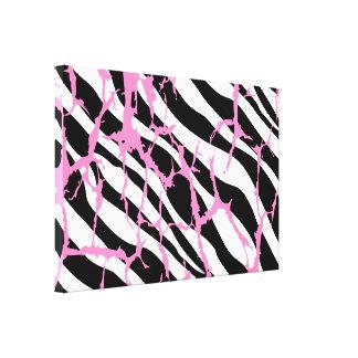 Zebra Stripes Pink Grunge Modern Canvas Art