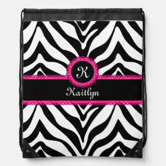 Zebra Stripes Pink Lace Monogram Name Drawstring Bag