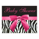 "Zebra Stripes & Pink Printed Bow Baby Shower 4.25"" X 5.5"" Invitation Card"