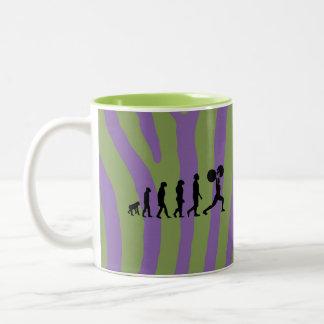 Zebra stripes purple and lime green Gym customized Two-Tone Coffee Mug