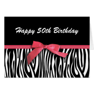 Zebra stripes red ribbon-look happy 50th birthday card