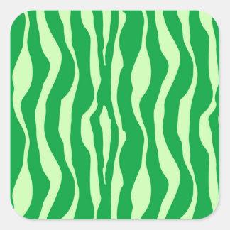 Zebra stripes - Shades of Lime Green Square Sticker