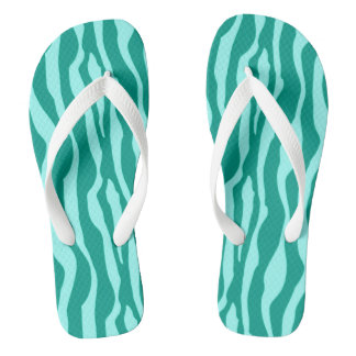 Zebra stripes - Turquoise and Aqua Flip Flops