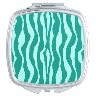 Zebra stripes - Turquoise and Aqua Makeup Mirror