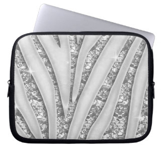 Zebra Stripes with Faux White Diamonds Laptop Sleeve