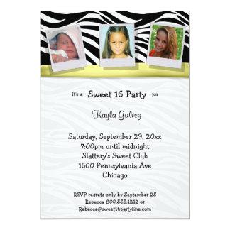 Zebra Stripes Yellow Ribbon Photo Party Invite