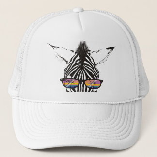 zebra sunglasses palm trees tropical drink summer. trucker hat
