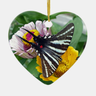 Zebra Swallowtail+Japanese Beetle Ceramic Heart Ornament
