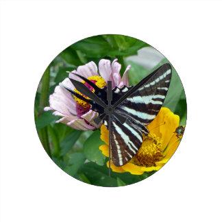 Zebra Swallowtail+Japanese Beetle Round Clock
