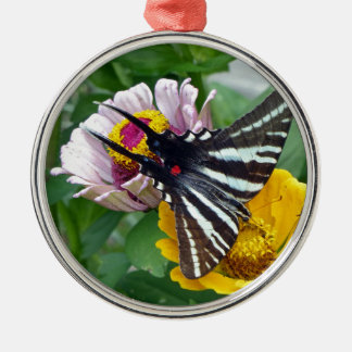 Zebra Swallowtail+Japanese Beetle Silver-Colored Round Ornament