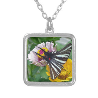 Zebra Swallowtail+Japanese Beetle Silver Plated Necklace