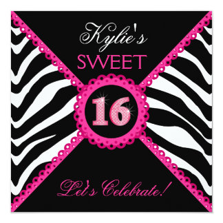 Zebra Sweet Sixteen Pink Lace Bling Invitations