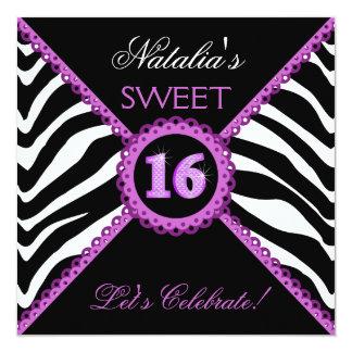 "Zebra Sweet Sixteen Purple Lace Bling Invitations 5.25"" Square Invitation Card"