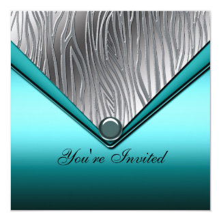 Zebra Teal Blue 21st Birthday Party Invitation