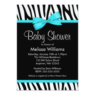 """Zebra Teal Blue Printed Bow Baby Shower 5"""" X 7"""" Invitation Card"""