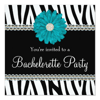 "Zebra Teal Daisy Printed Gems Bachelorette Party 5.25"" Square Invitation Card"