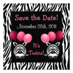 Zebra Twin Girls Baby Shower Save the Date Personalized Invitations