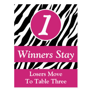 Zebra Wild Animal Print Bunco Table Number Card #1