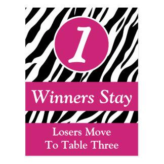 Zebra Wild Animal Print Bunco Table Number Card #1 Postcard