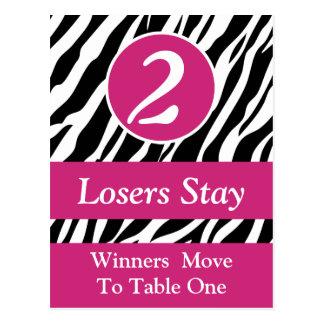 Zebra Wild Animal Print Bunco Table Number Card #2