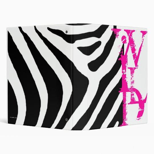 Zebra Wild Pink, Black, and White Avery Binder
