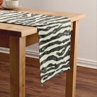 Zebra Wildlife Animal Striped Black Ecru Pattern Short Table Runner