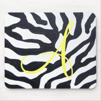 Zebra with Monogram Mouse Pad