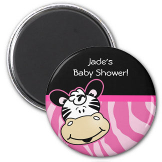 Zebra with Pink Zebra stripes Baby Shower Favor 2 Inch Round Magnet