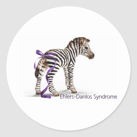 zebra with ribbon large.png classic round sticker