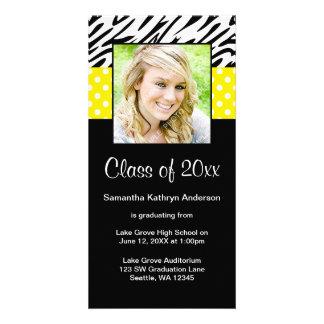 Zebra Yellow Polka Dot Graduation Announcement Picture Card