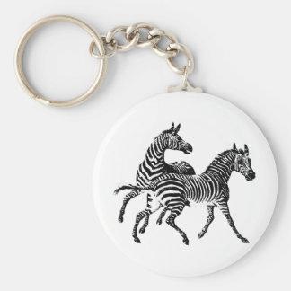 Zebra Zebras Vintage Victorian Wood Cut Art Keychain