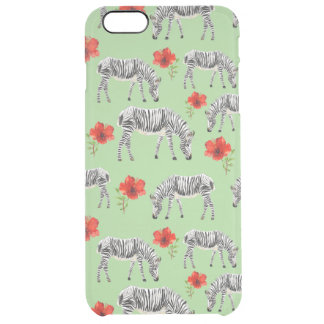 Zebras Among Hibiscus Flowers Clear iPhone 6 Plus Case