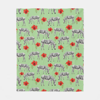 Zebras Among Hibiscus Flowers Fleece Blanket