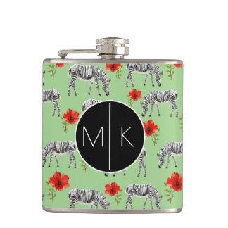 Zebras Among Hibiscus Flowers   Monogram Flasks