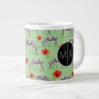 Zebras Among Hibiscus Flowers | Monogram Giant Coffee Mug