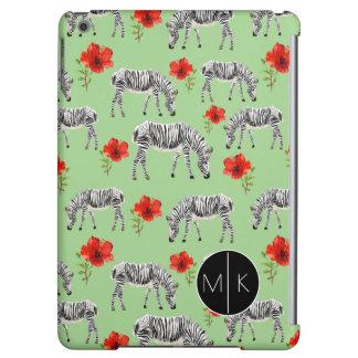 Zebras Among Hibiscus Flowers | Monogram iPad Air Case